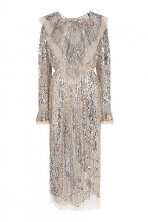 Длинное платье с серебристыми пайетками Gucci. Цвет: серебряный