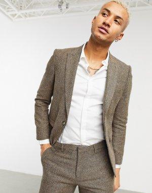 Светло-коричневый зауженный пиджак из твила с цепочкой -Коричневый цвет Shelby & Sons