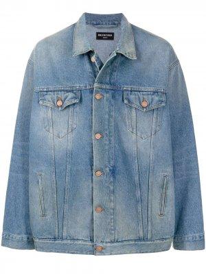Джинсовая куртка оверсайз на молнии Balenciaga. Цвет: синий