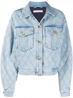 Джинсовая куртка свободного кроя Alessandra Rich. Цвет: синий