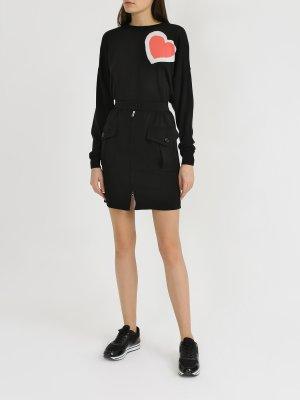 Мини-юбка с карманами Emporio Armani. Цвет: chernyy