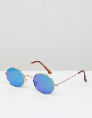 Овальные солнцезащитные очки с зеркальными линзами Pull&Bear. Цвет: золотой