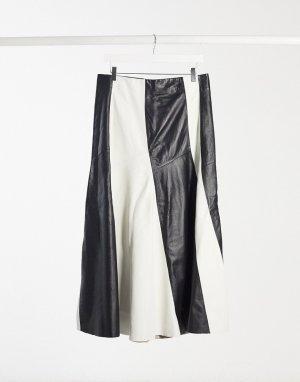 Кожаная премиум-юбка со складками -Черный Topshop