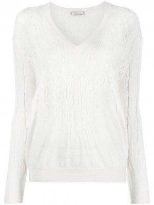 Джемпер фактурной вязки Nina Ricci. Цвет: белый