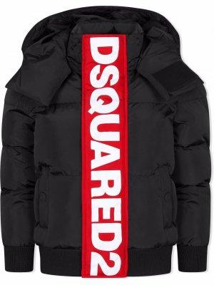 TEEN padded logo-print jacket Dsquared2 Kids. Цвет: черный