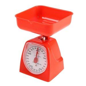 Весы кухонные luazon lvkm-501, механические, до 5 кг, чаша 1200 мл, красные Home