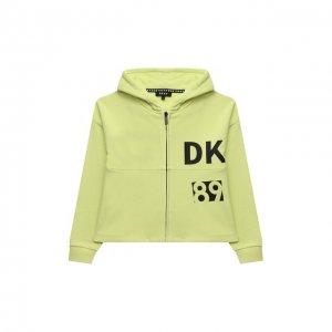 Хлопковая толстовка DKNY. Цвет: зелёный