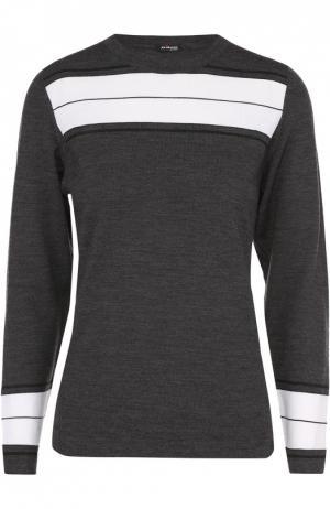 Шерстяной пуловер с круглым вырезом и контрастной отделкой Kiton. Цвет: белый