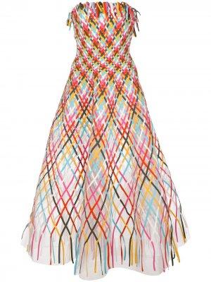 Длинное расклешенное платье Oscar de la Renta. Цвет: разноцветный