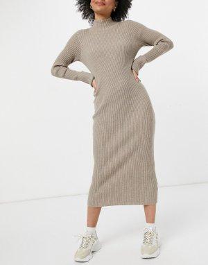 Платье-свитер миди серо-коричневого цвета -Черный цвет BB Dakota