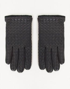 Черные кожаные перчатки для вождения с фактурной отделкой -Черный цвет ASOS DESIGN