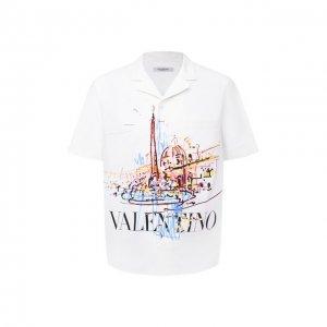 Хлопковая рубашка Valentino. Цвет: белый
