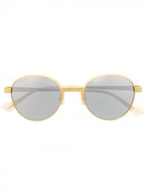 Round frame sunglasses Gucci Eyewear. Цвет: золотистый