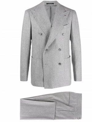 Костюм с двубортным пиджаком Tagliatore. Цвет: серый