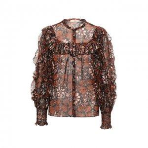 Шелковая блузка Ulla Johnson. Цвет: коричневый