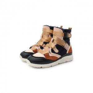 Высокие кроссовки из кожи Chloé. Цвет: разноцветный