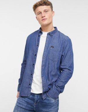 Синяя выбеленная рубашка на пуговицах с длинными рукавами -Голубой Lee