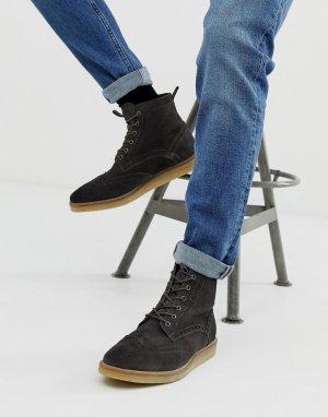 Серые замшевые ботинки-броги с натуральной подошвой -Серый ASOS DESIGN