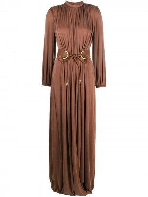 Open-back draped long dress Elisabetta Franchi. Цвет: коричневый