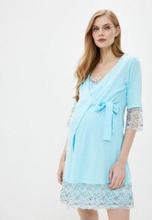 Халат и сорочка ночная All Mixes. Цвет: голубой