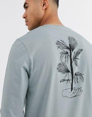 Лонгслив с принтом на спине -Серый ASOS DESIGN