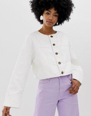 Белая короткая джинсовая куртка на пуговицах -Белый Weekday