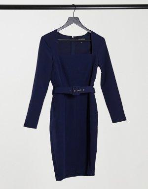 Темно-синее платье миди с квадратным вырезом и поясом -Темно-синий Little Mistress