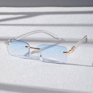 Мужские солнцезащитные очки без оправы с тонированными линзами SHEIN. Цвет: синий