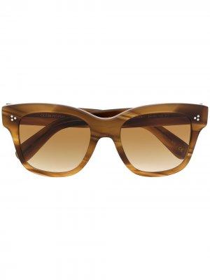 Солнцезащитные очки в прямоугольной оправе Oliver Peoples. Цвет: коричневый
