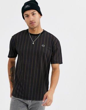 Черная oversize-футболка в полоску -Черный Criminal Damage