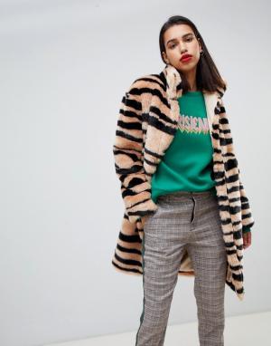 Пальто с принтом зебра Sofie Schnoor. Цвет: мульти