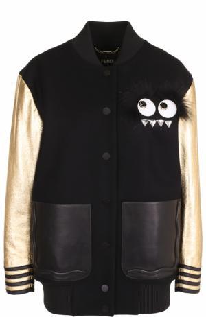 Бомбер с металлизированными рукавами и кожаными карманами Fendi. Цвет: черный