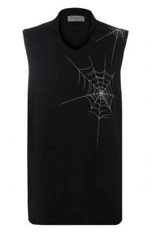 Шерстяной жилет с контрастной отделкой Yohji Yamamoto. Цвет: черный
