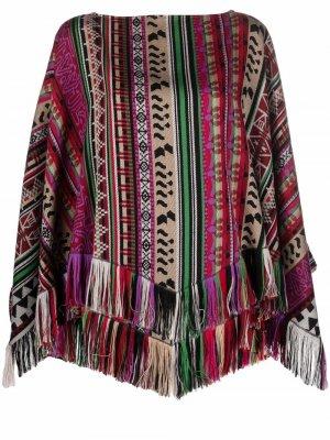 Woven-stripe wool poncho ETRO. Цвет: черный