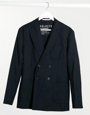 Черный двубортный пиджак -Черный цвет Selected Homme