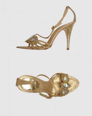 Босоножки на каблуке RENE' CAOVILLA. Цвет: золотистый