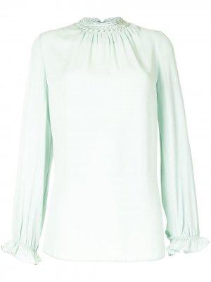 Блузка с плетеным воротником Dice Kayek. Цвет: зеленый