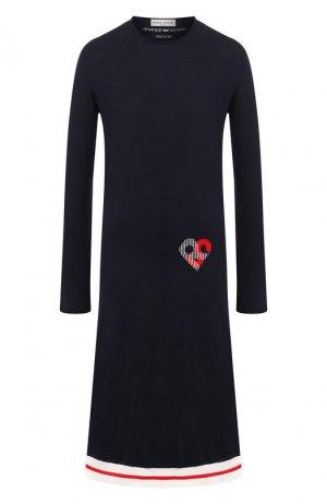 Шерстяное платье Sonia Rykiel. Цвет: синий