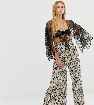 Широкие брюки с принтом зебры и поясом -Мульти ebonie n ivory