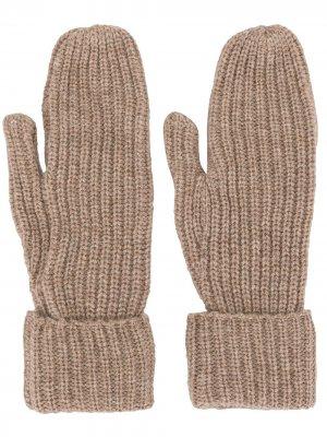Перчатки Elna в рубчик Wood. Цвет: коричневый