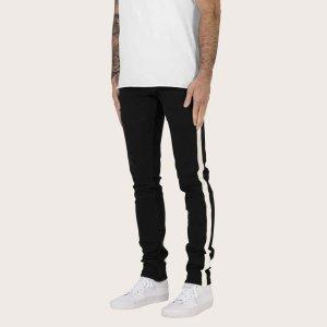 Мужские прямые джинсы с полосками SHEIN. Цвет: чёрный