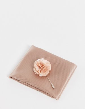 Булавка на лацкан пиджака с цветком и платок-паше -Белый Gianni Feraud