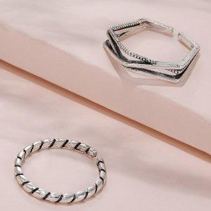 2шт Простое открытое кольцо SHEIN. Цвет: античное серебро
