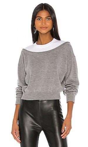 Пуловер peelaway T by Alexander Wang. Цвет: серый