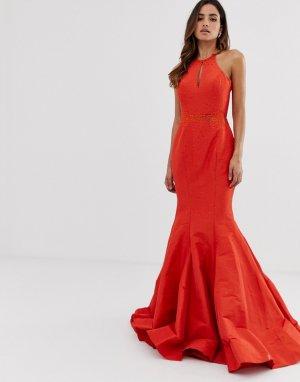 Платье макси с открытой спиной и годе -Оранжевый Jovani