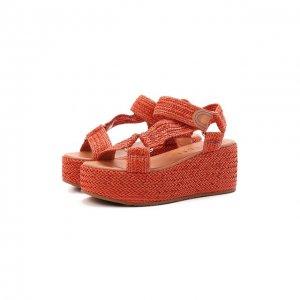 Комбинированные сандалии Casadei. Цвет: оранжевый