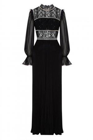 Длинное платье черного цвета Self-Portrait. Цвет: черный