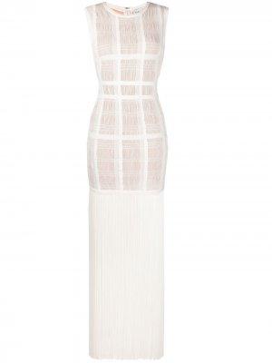 Платье с бахромой Hervé Léger. Цвет: белый