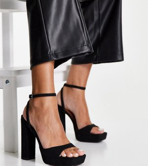 Черные босоножки для широкой стопы на каблуке и платформе Wide Fit Noun-Черный цвет ASOS DESIGN