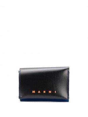 Двухцветный кошелек с логотипом Marni. Цвет: черный
